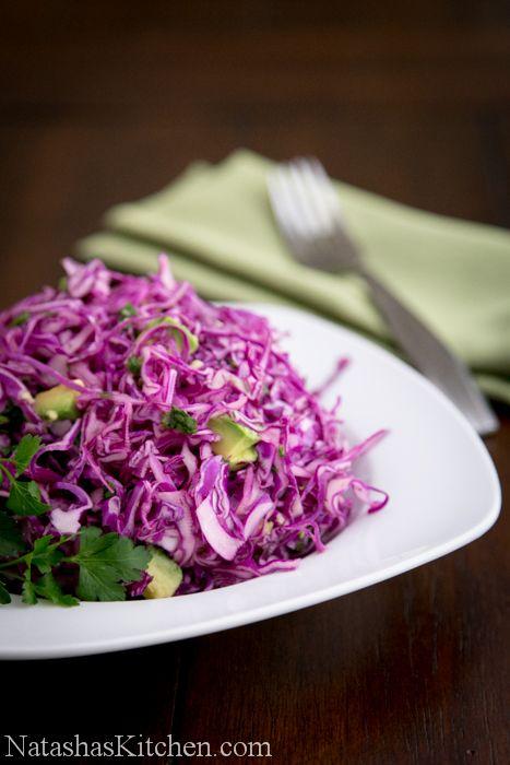 Red Cabbage and Avocado Salad Recipe | NatashasKitchen.com