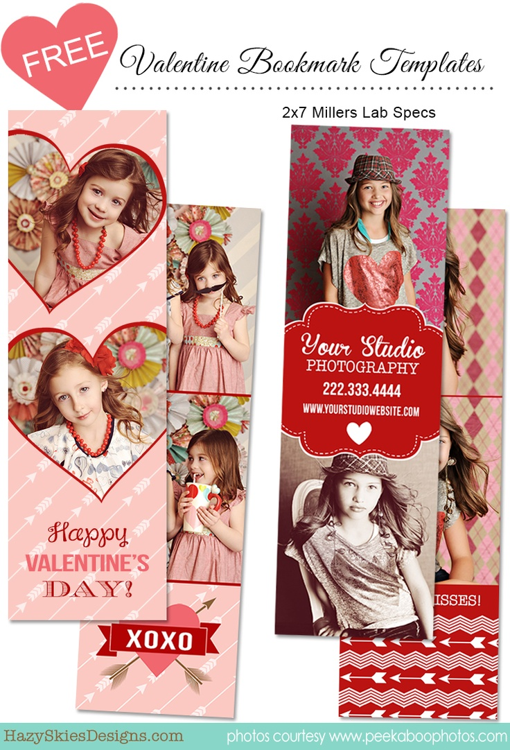 free valentines day bookmark templates for photographers