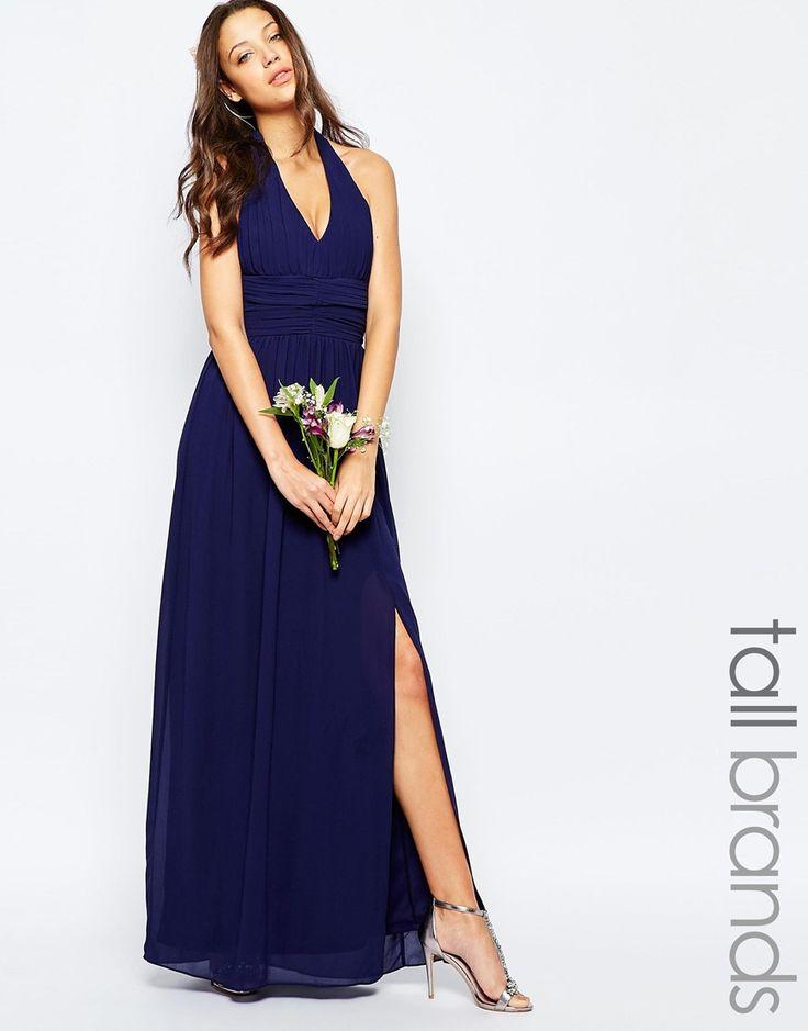 Tfnc wedding tall halter neck chiffon maxi dress robes for Tall dresses for weddings