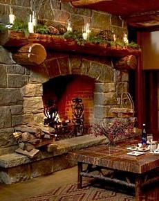 I like the rustic fireplace and the log mantle is the icing on the cake.