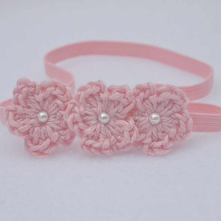Crochet Baby Headband, Newborn Headbands, Baby Girl Headbands, Flower Headband, Baby Crochet Headbands. $12.00, via Etsy.