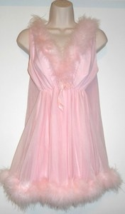 Vtg Figurettes Sissy Pink Nylon Marabou Baby Doll Nightgown Panty Set Large | eBay