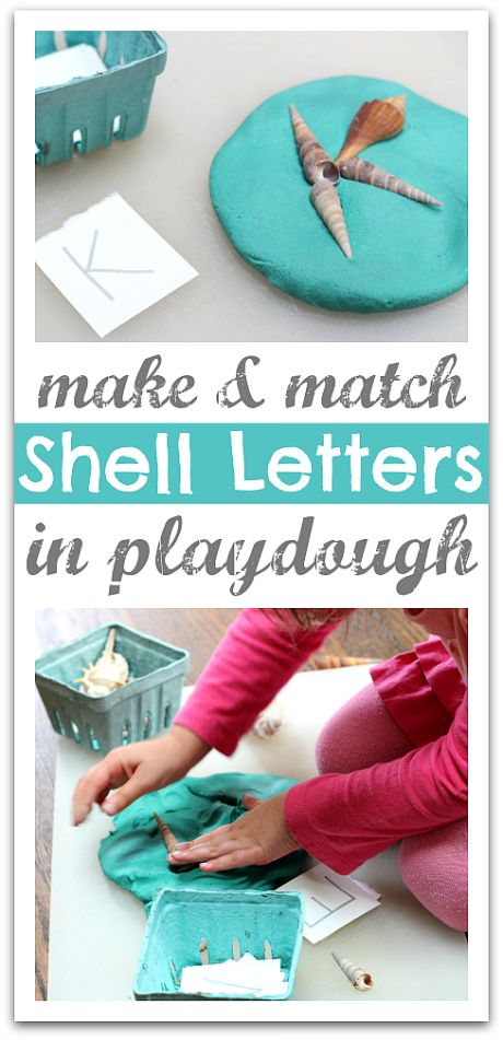 Make letters with shells. Fun beach themed alphabet activity for summer.