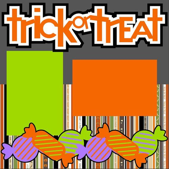 Halloween Scrapbook Page Kit or Premade layout 2-page 12X12 - Trick or Treat