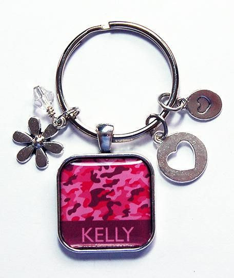 Pink Camo Keychain Personalized Keychain Keyring with name