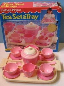Fisher-Price Toy Tea Sets | VTG Fisher Price Fun with Play Food Kitchen Pink Tea Set Service ~ 100 ...