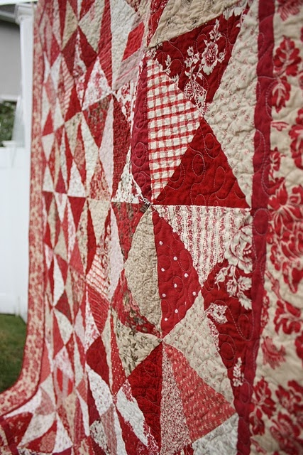 Red and White  ~  French General Hour Glass Quilt