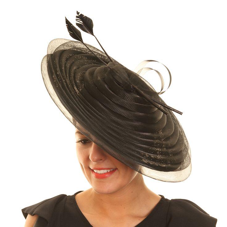 Wedding Fascinator Hat - Black Pleated Disc Sinamay
