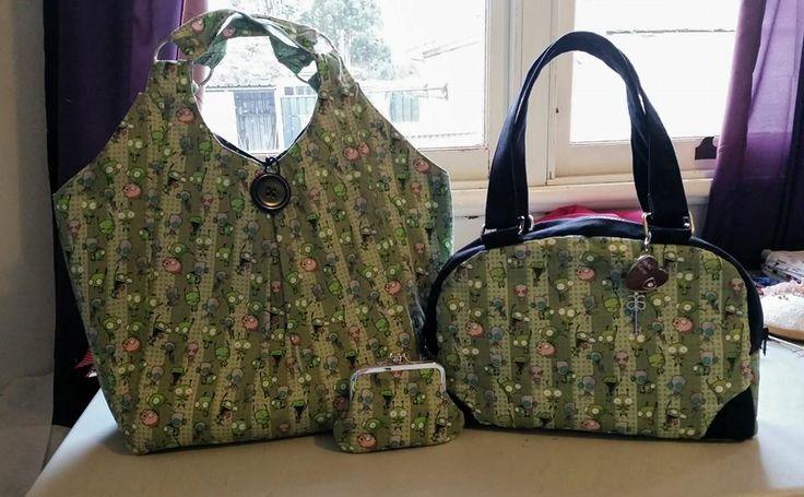 Invader Zim trio in Tote, Handbag & coin purse  Custom order   Email: mbmaccessories1@gmail.com Facebook: https://www.facebook.com/mbmaccessories1