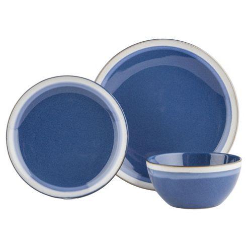 Blue Sahara 12 Piece, 4 Person Stoneware Dinner Set