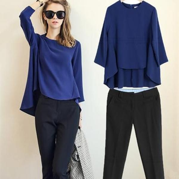 Casual Set of Loose Chiffon Tops + Straight Pants *Plus Size Available #casual #top #pants #plussize