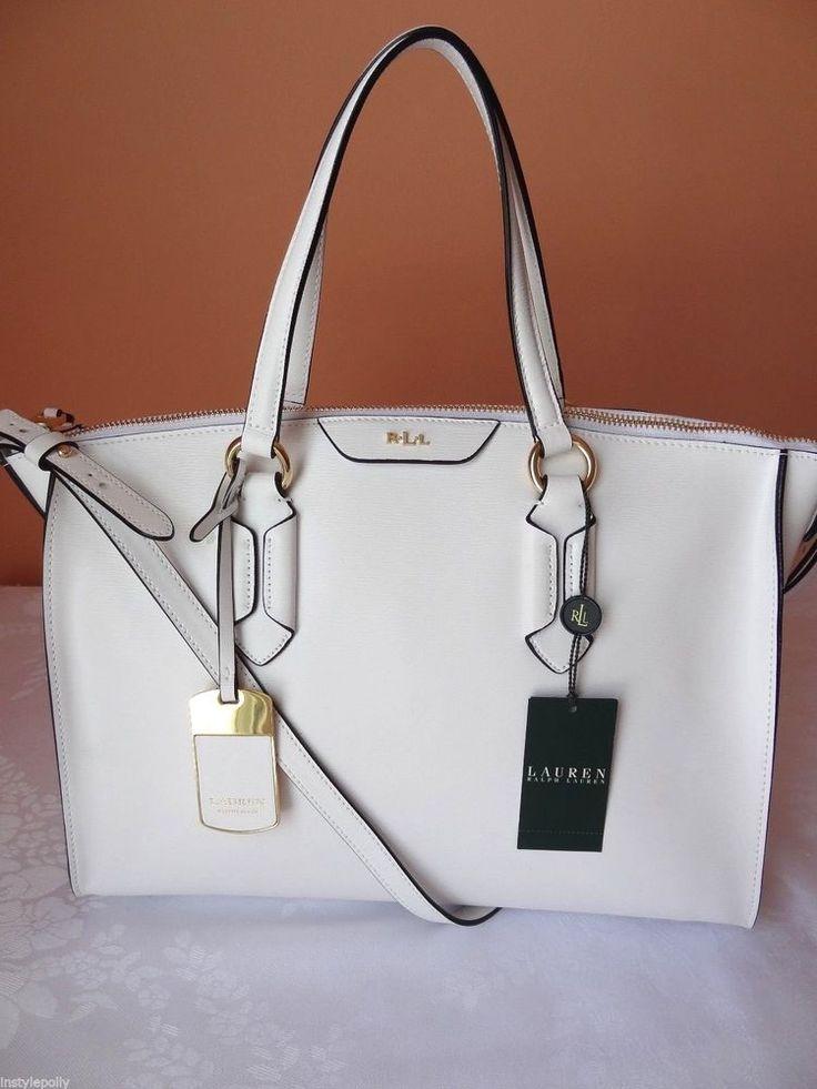 Ralph Lauren Leather Tate Convertible Satchel Handbag Purse White ...
