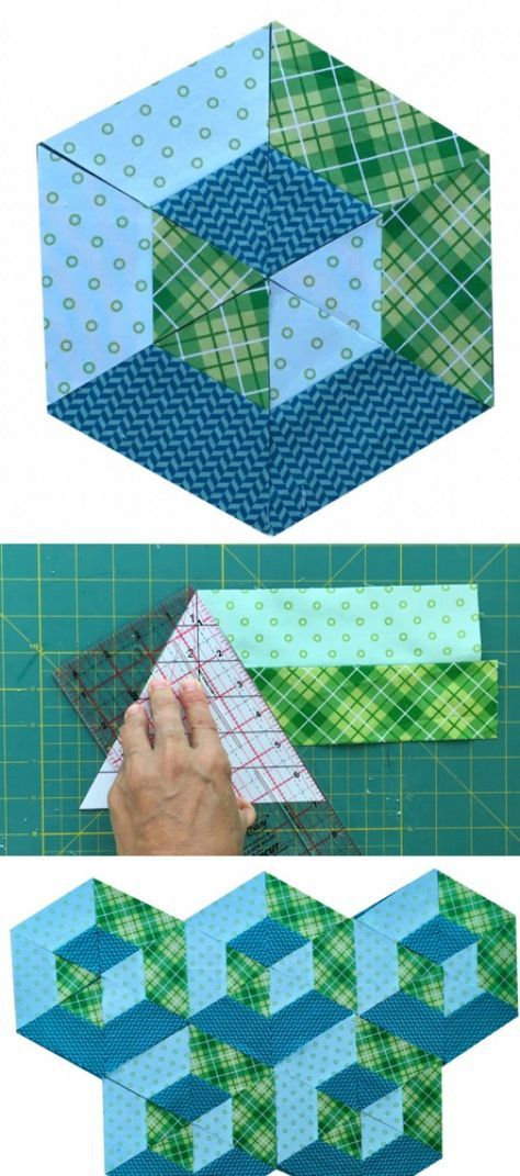 Edredon English.3d Hexagon Quilt Block Tutorial Hexagon Patchwork English