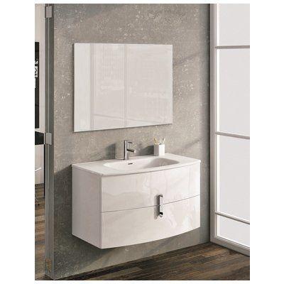 Eviva Round 39 Wall Mount White Modern Bathroom Vanity With White Integ