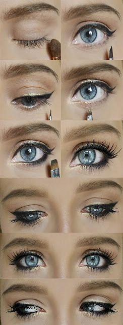 beautiful eyeliner and makeup for big, blue eyes