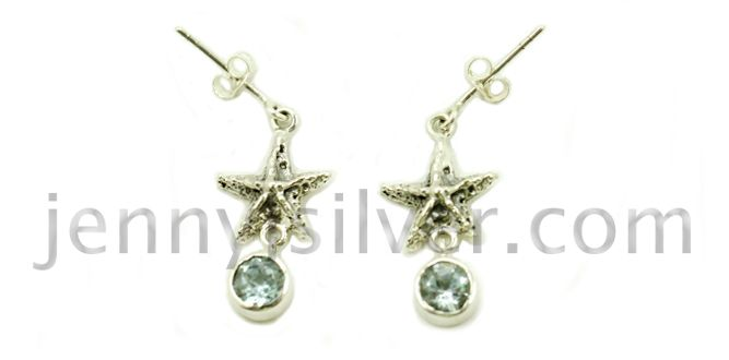 Starfish Earring – Handmade silver earrings Material : Sterling Silver 925, Topaz stone Dimension : 2.5cm L x 1.3 cm W Weight : 0.14 oz gram Price : $ 44.00 In stock : 3 pairs Order it here http://www.jennyjsilver.com/collection-140-Starfish-earring
