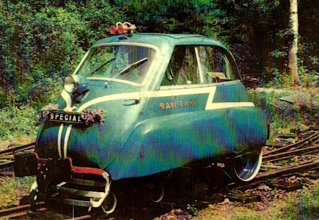 "☆MG☆This is a BMW, rebuilt by R.P Morris, Longfield, Kent, in 1967 - it's now called a ""Railway Taxi"". --- rail car -- BMW-Isetta -- England"