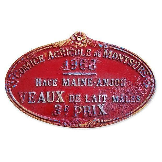 Image of Vintage 1968 French Dairy Prize Trophy Plaque