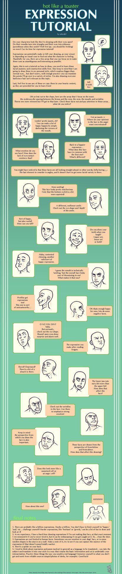 Drawing faces and facial expressions are of utmost importance, so here is a fairly simple expression tutorial in a visual format with text.