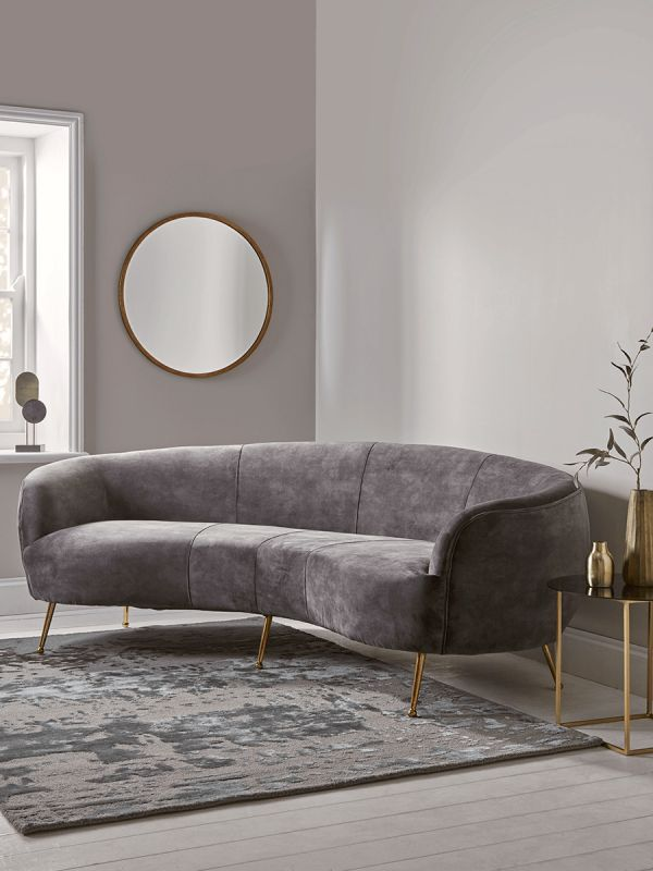 Deep Grey Velvet Curved Sofa In 2020