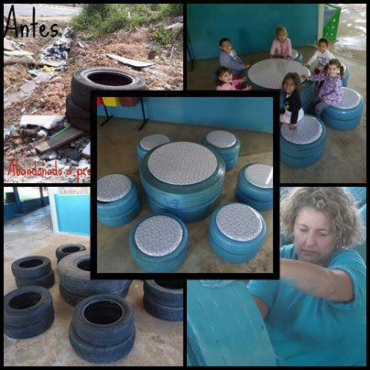 Old tires table and stools                                                                                                                                                                                 Mais