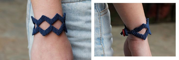 Diamond shaped macrame bracelet, made of blue waxed cord..