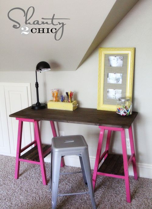 Turn some old barstools into a great desk! Great area for daughter's room for schoolwork, scrap booking, college dorm, etc.