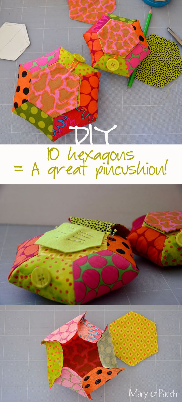 Maryandpatch, Hexagon Pincushion DIY                                                                                                                                                                                 Plus