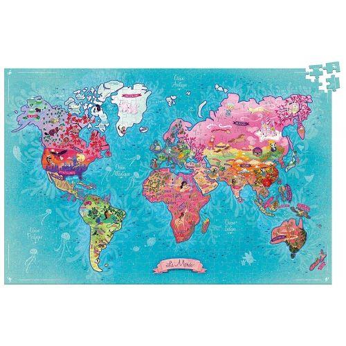 Művészi világtérkép puzzle, kirakó 500 db-os - Vilac