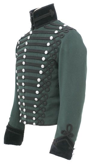 CT5044 95th Rifles Officers Tunic  This our 'standard' version of the 95th Officers tunic, made from Rifle Green wool with black velvet collar and cuffs, the example illustrated is the one we make for the majority of our Re-enactor clients. All the lace is black russia wool lace as per original.