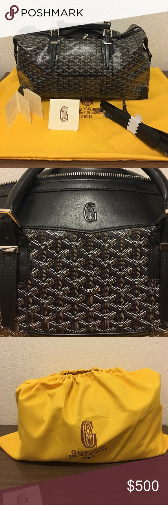 Replica goyard Boeing bag 1:1 with dust bag Brand new goyard weekender Boeing bag. It's 1:1 down to a serial number stamp inside it and engraved feet on the bottom. Has papers, strap, dust bag, bag itself. It's a 2 foot bag about a carry on size Goyard Bags Travel Bags