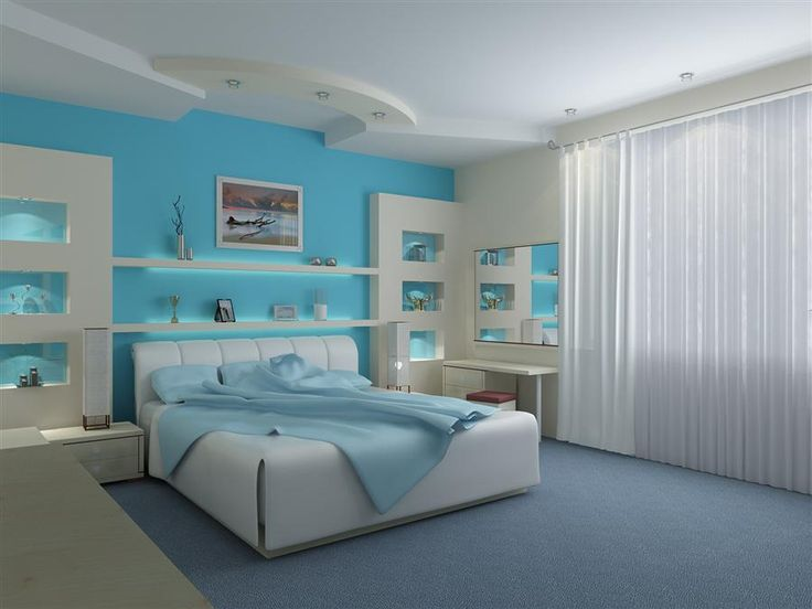 Bedroom Exquisite Blue White Bedroom Painting Ideas And Curtain Also Upholstered Bed Frame Featured Wall Niches