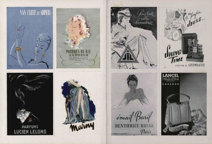 Various Vintage Illustrated Advertisements