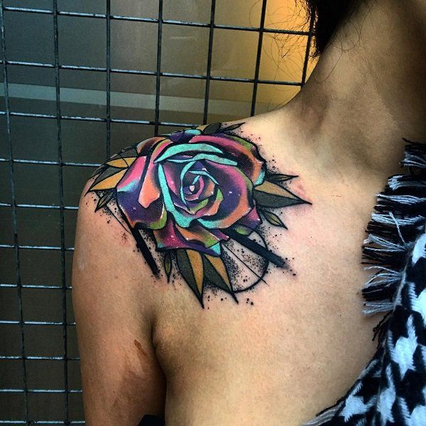 Rose tattoo shoulder tattoo - 55 Awesome Shoulder Tattoos