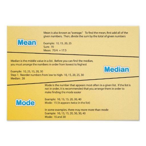 #Mean #Median and #Mode Math #Poster #math #MathClassroom #school #teacher #education #classroom #ClassroomPosters