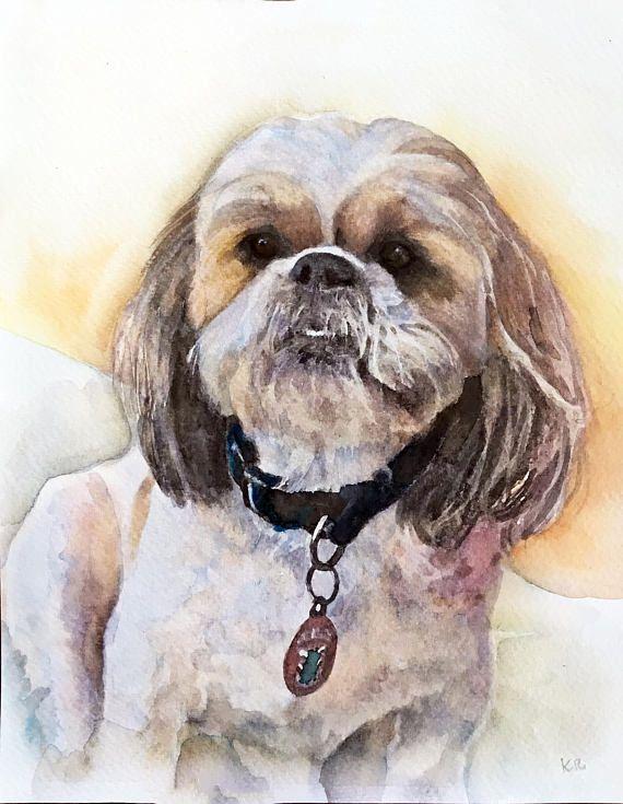 Shih Tzu Custom Watercolor Dog Portrait Pets Artist Painting