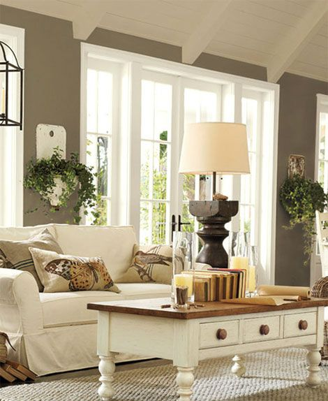 Family room ideas what i love the table with storage for What color family is taupe