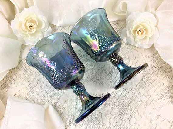 Indiana/Colony Glass Carnival Blue Harvest  Water Goblets