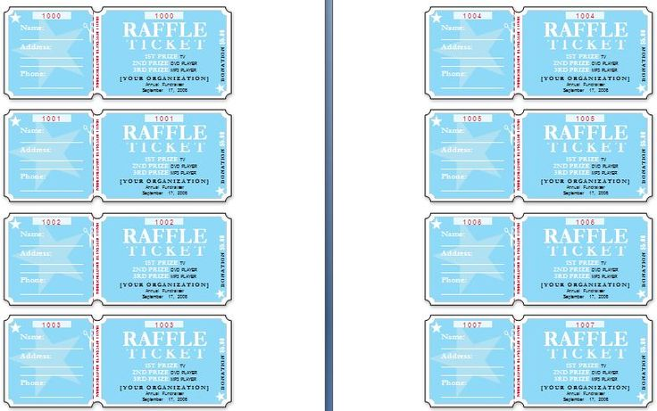 Sample Raffle Tickets The template has six tickets on a page and - create raffle tickets in word