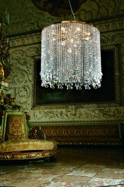 We can TOTALLY make this   Dripping chandelier, chartreuse chair, sculptural molded walls with painting and velvet brocade bench, woah! Bohemian Wornest