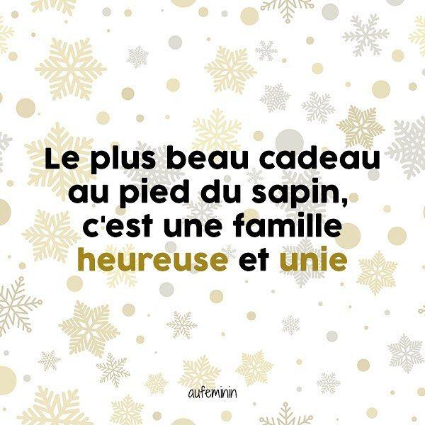 """""""Le plus beau cadeau au pied du sapin c'est une famille heureuse !"""" #aufeminin #citation #noel #famille #bonheur #cadeau"""