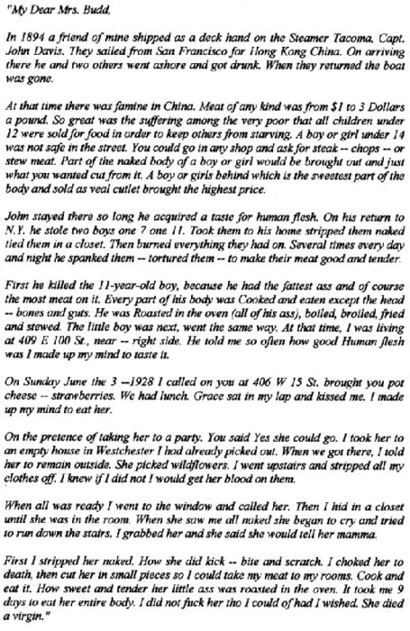 The letter serial killer Albert Fish sent to the mother of one of his victims.