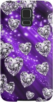 Purple Sparkle Diamond Hearts   Snap Cases, Tough Cases, & Skins for iPhones 4s/4 5c/5s/5 6/6Plus & Samsung S3/S4/S5 Galaxy Phones. **All designs available for all models.