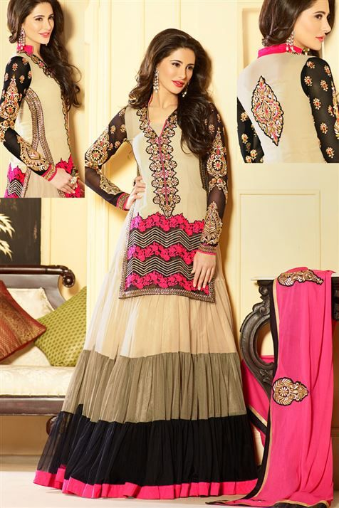 Super Stylish Nargis Fakri Georgette Cream,Black Floor Length Anarkali Suit