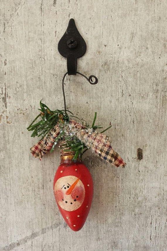 Snowman Ornament 3 BULB Primitive Snowman by FlatHillGoods on Etsy