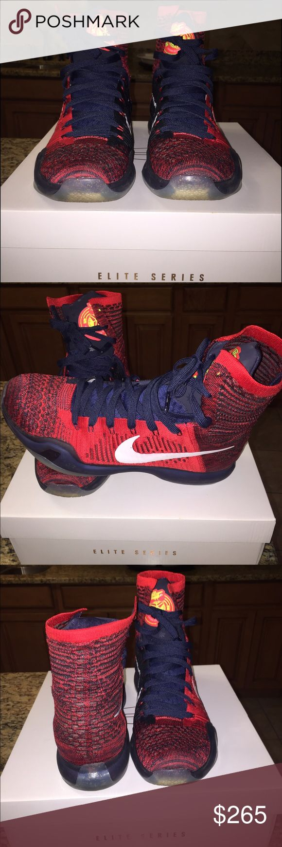 Limited Edition Kobe Bryant Elite high tops👟 Not sold in stores Limited edition,  in almost perfect condition red and navy blue Kobe X Elite high tops 👟 Nike Shoes Sneakers