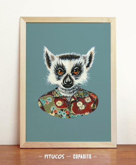 Lemur Art Print  Giclee Poster Wall Art Draw Original by Pitucos, $20.98