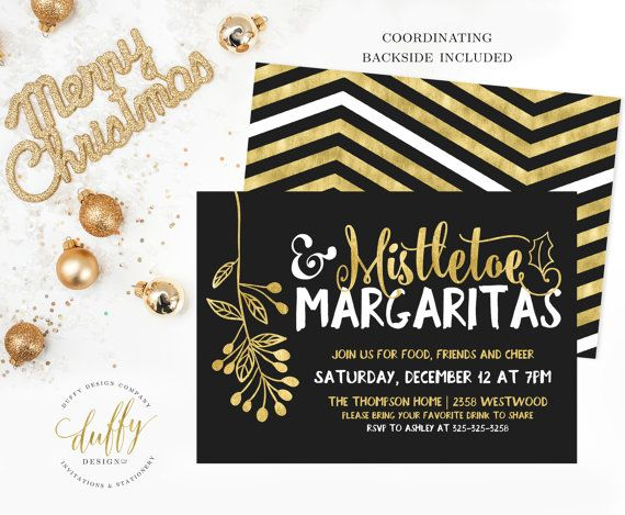 Mistletoe & Margaritas Holiday Party Invitation by DuffyDesignCo