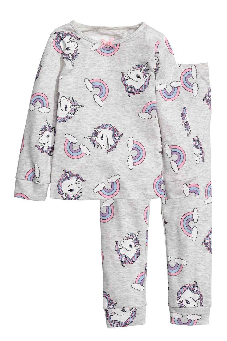 Pyjama en jersey - Gris clair chiné/licornes - ENFANT   H&M FR