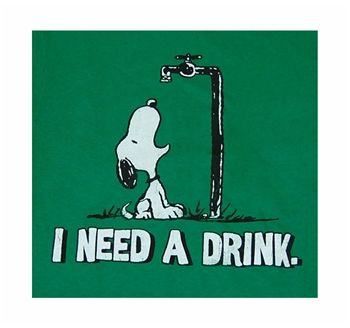 Snoopt... I need a drink! ♡ See More #PEANUTS #SNOOPY pics at www.freecomputerdesktopwallpaper.com/peanuts.shtml Thank you for viewing!